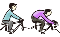 深い前傾姿勢のクロスバイクで空気抵抗を減らして速度アップを目指す