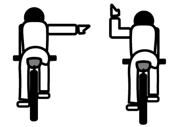 自転車の手信号 右折