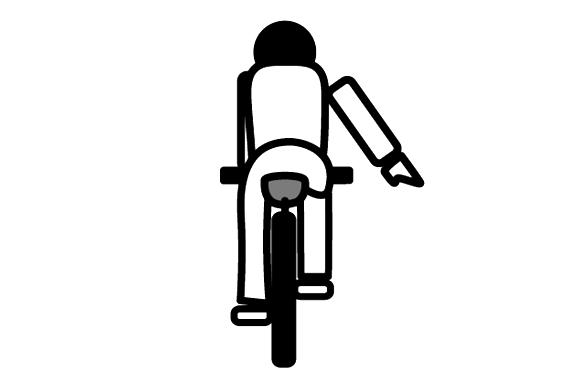 自転車の手信号 停止