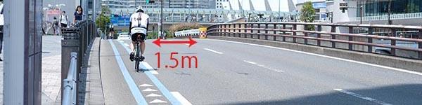 思いやり1.5メートル運動と自動車が自転車を追い越す際の安全な間隔