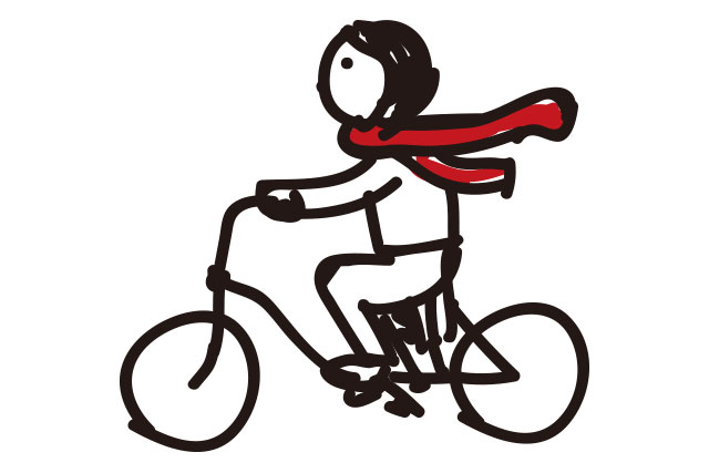 自転車乗車中にマフラーをするのも危険