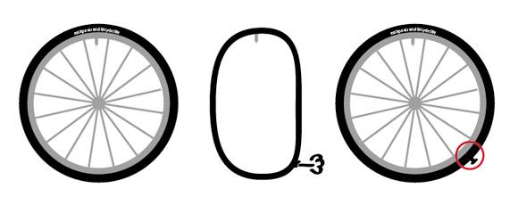ロゴマークの位置とバルブ位置を揃えるとパンク修理の目印