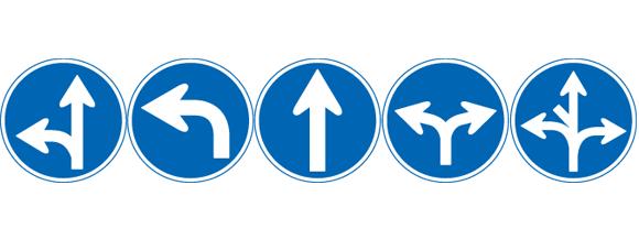 自転車用の道路標識 指定方向外進行禁止