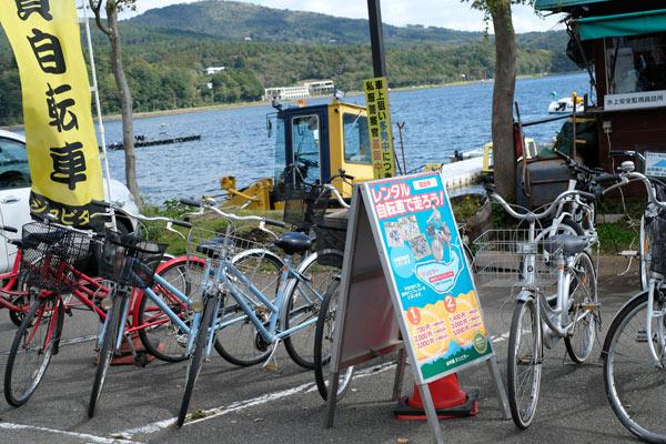 山中湖とレンタサイクル