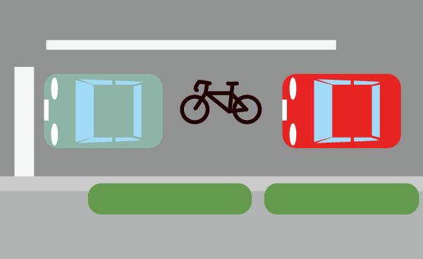 車道の信号待ちで自転車のすり抜け