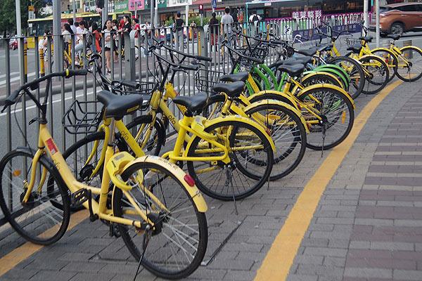 中国の自転車シェアリングサービスの様子