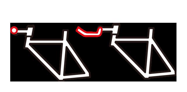 クロスバイクをブルホーン化するとハンドル位置が遠くなる