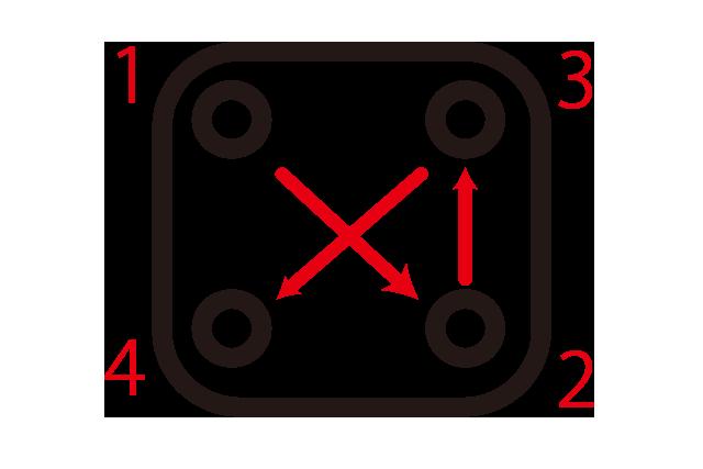 ステムのボルトの締める順番
