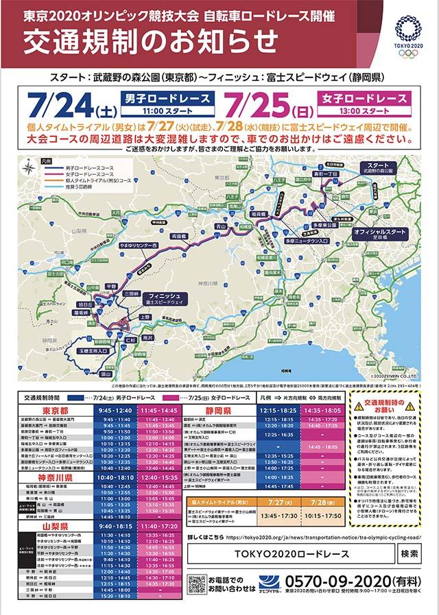 東京2020オリンピック自転車ロードレースの交通規制のお知らせ